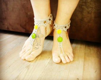 Flower boho BAREFOOT sandles barefoot sandals chain beaded barefoot bohemian wedding barefoot Hippie anklet jewelry foot thongs bottomless
