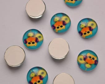 14mm Cartoon Owl Cabochons, Printed Glass Half Round Dome Cabochons, Pack of 5 Cyan Cabochons, C177