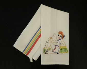 Pin-Up Girl Hand Embroidered Towel Dishtowel Tea Towel Guest Towel Vogart Pattern Vintage Pattern FREE SHIPPING