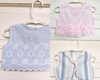 3 vintage baby girl tops/ baby summer shirts- lace/ embroidered baby girl shirts size 6M
