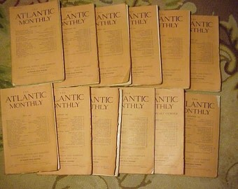 Full Year 1907 The Atlantic Monthly Magazines January - December published By Houghton, Mifflin New York, Antique Magazines with lots of Ads