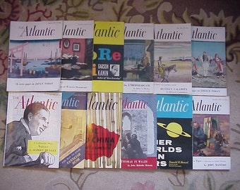 Full Year 1955 The Atlantic Monthly Magazines January - December published By Atlantic Monthly Boston, Antique Magazines with lots of Ads