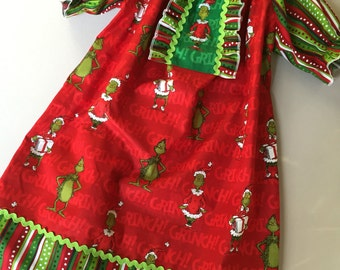 Size 7 girls.....Grinch Dress.....Made and ready to be shipped.