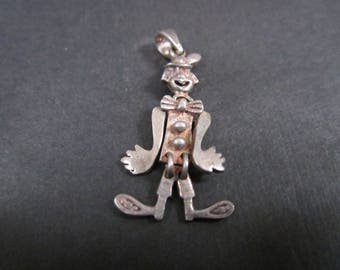Vintage silver Articulated Clown Charm with sterling loop