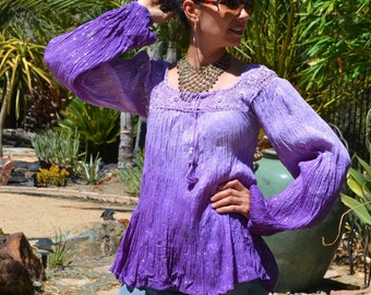 70's NWOT Deadstock India Boho Ombre purple sheer THIN crinkle cotton gauze flower macrame silver metallic lurex tunic top blouse sz S//M