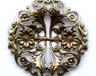 Fabulous Floral Filigree - 39mm - Ox Brass, Leaves Flowers with Openwork X1