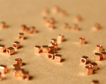100 pc. Rose Gold Plated Brass Cube Spacer Beads, 3mm by 3mm | FI-339