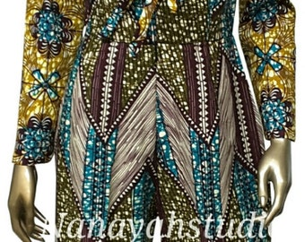 AYAWAX Collection. Multi African Print Jumpsuit. Sleeves. Side Pockets. Sash. Womens Clothing. Handmade Clothing.