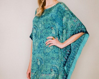 Azul. An exquisitely soft and fluid faux silk crepe kaftan. Bohemian beach kaftan. Elegant resort wear. Honeymoon kaftan. Ready to ship.