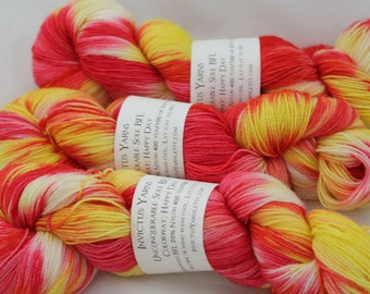 Happy Day Unconquerable Sole BFL, 80/20 SW BFL/nylon fingering weight sock yarn