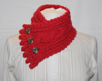 Fishermans Wife Cowl, Cable Knit Cowl, Neck Warmer, Knitted Cowl, Scarlet Red