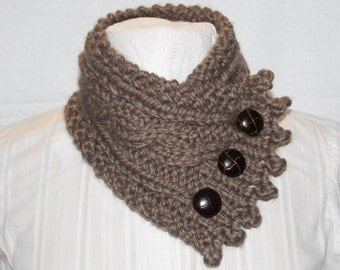 Cable Knit Cowl, Neck Warmer, Knitted Cowl, Taupe Cowl, Fishermans Wife Cowl