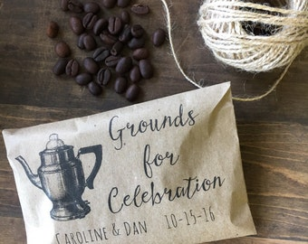 Coffee Favor Bags- Wedding Favors - Bridal Shower Coffee Favors- Coffee Bean Espresso Favors - Set of 25 printed paper bags