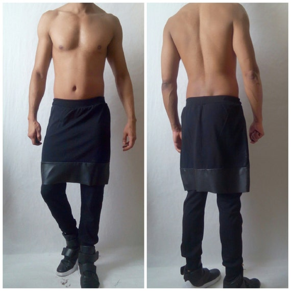 Kilted Jogger pant kilt Overlay Skirted Jogger with Faux Leather Stretch pants Inspired by Rick Owens , Helmut Lang,Y3