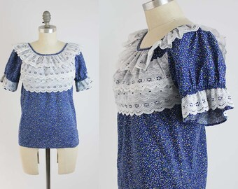 Vintage 70s Lace Ruffle Shirt - Rockmount Ranch Wear Square Dance Blouse Top in Blue - Rockabilly Country Western Folk - Size XS Small