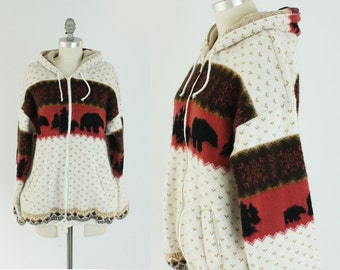 Vintage Alpaca Style Bear Jacket - Unisex Zip Up Hoodie Animal Sweater - Outdoor Camping Gear - Size Medium to Large