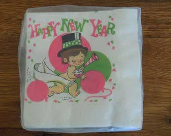 "Vintage Party Napkins- Happy New Year- NYE Party 13""x13"" Unopened/Unused"