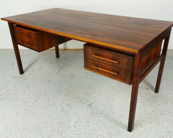 mid century Danish modern rosewood Art Furn floating double sided executive desk with key