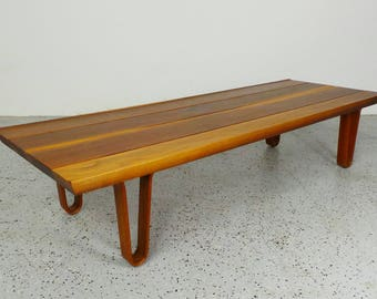 mid century modern refinished Edward Wormley Dunbar cherry wood winged plank coffee table