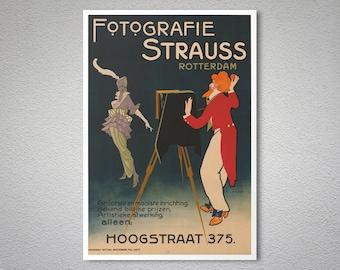 Fotografie Strauss, Rotterdam, Holland Vintage Poster  - Poster Paper, Sticker or Canvas Print