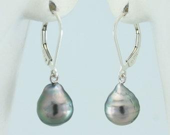 Cook Island Pearl Sterling Lever Back Earrings 67-10250