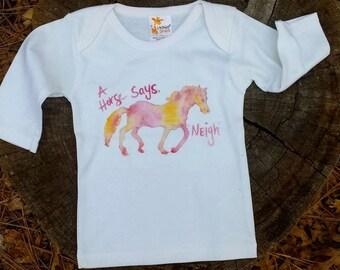 SIZE NEWBORN Horse shirt, horses for kids, watercolor horses, watercolor horse, kids clothing, kids long sleeve, horses, horse clothing