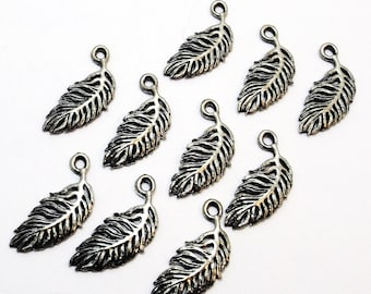 Set of Ten (10) Pewter Feather Charms - 0156