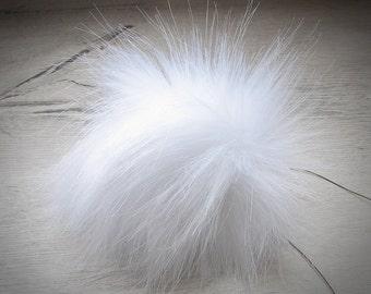 Perfect Fox Fur Pom Poms for Your Knit Hat, White PomPom Faux Detachable Bright Fur Pom-Pom, Large Fur Pom Pom, White Pom Pom,