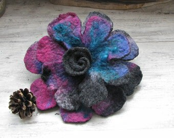 Unique felt Brooch Purple Flower Broch Handmade gift for her Perfect Christmas gift for women