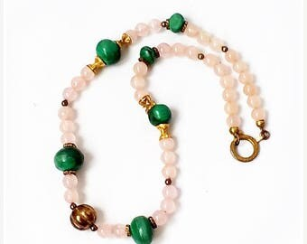 SALE Vintage Rose Quartz and Malachite NECKLACE , Genuine Malachite and Rose Quartz Bead Necklace .