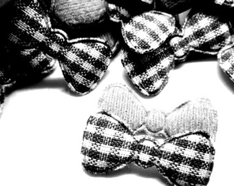 "100pcs x 7/8"" Black Gingham Cotton Bow Padded/Appliques"