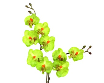 "17"" Artificial Silk Butterfly Phalaenopsis Orchid Flower Spray - Green"