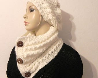 collar snood neck more Beanie beret knitted mohair wool hand Ecru fashion woman accessories