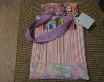 Kid's coloring book and pencil bag -- Glitter butterflies on purple