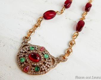 Upcycled rhinestone necklace / recycled jewelry / upcycled necklace / romantic / vintage necklace / assemblage jewelry / repurposed jewelry