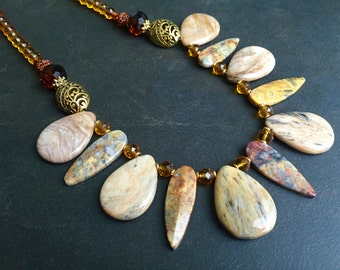 Chunky Stone Necklace, Tribal Necklace, Statement Necklace, Bamboo Agate, Crazy Lace Agate, Cognac Crystal, Earth Tone, Boho Jewelry  1300