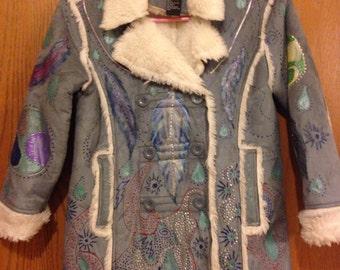 Young ladies hand painted Coat, Sacred Mandala Coat