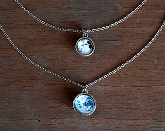 Earth and Moon double layered necklace,Planets necklace,Solar system,Two sided moon earth,Galaxy necklace,Space necklace,gift for her,moon