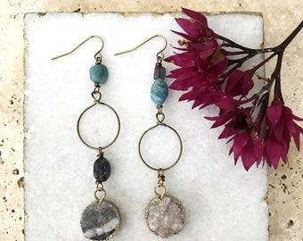 Mother's Day gift, gift for her, druzy jewelry, crystal jewelry, boho jewelry, unique jewelry, different earrings, spring jewelry