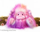 "Yeti artist bear, monster toy, kawaii plush pink, purple and white faux fur monster plush, collectible toy, yeti art doll ""Sherbert"""