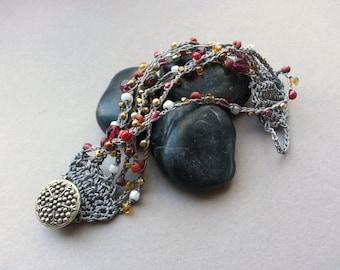 Bead Crochet Cuff Bracelet, Gray Cranberry Brass, Boho Bohemian Chic Jewelry, Hippie Gypsie Accessory, Vintage Button,Smokey Grey Bronze Red