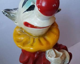 clowning around - vintage clown with guitar statue, chalkware figure, circus decor, Universal Statuary Corp