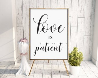 Wedding Signs Set of 8 • Scripture Poster • 1 Corinthians 13 • Love is Patient, Love is Kind, Love Never Fails • Aisle Signs • 8x10, 16x20