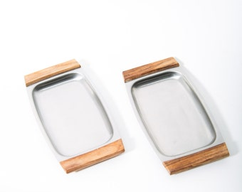 Danish Modern Snack Trays Set of 2 Stainless Steel and Teak 1960s Elpo Japan
