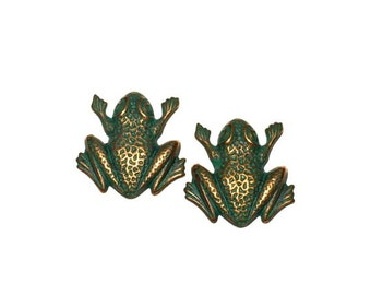 2 Frog Stampings, Frog Charms, Cabochon, Brass Stampings, Patina