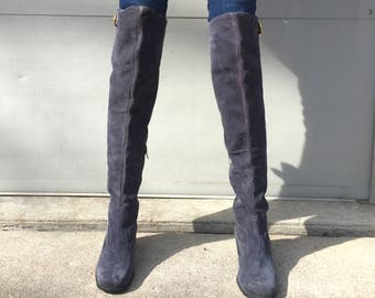 1960s Italian deep blue suede over the knee boots  - size 8 - 1960s go go boots - suede boots - 60s thigh high boots - 60s go go boots
