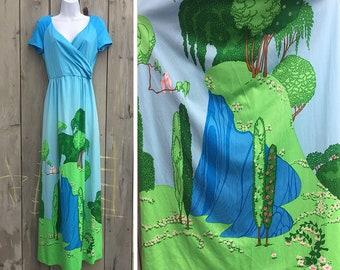 Vintage dress | 1970s Hawaiian resortwear tropical Malia Honolulu fairy tale border print long maxi gown