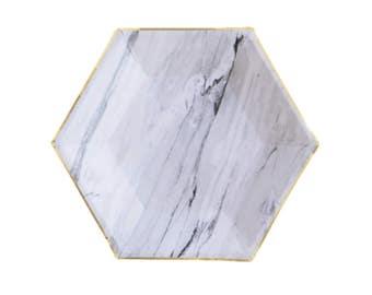 Marble Hexagonal Plates - metallic gold black white paper plates birthday wedding shower  Harlow & Grey