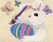 Busy Easter Bunny Embroidered Towel | Flour Sack Towel | Linen Towel | Dish Towel | Kitchen Towel | Hand Towel | Easter Towel
