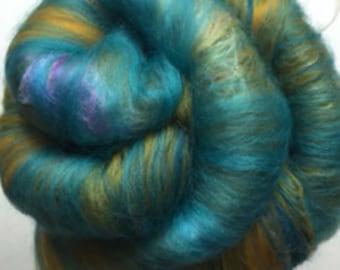Carded Fibre Batt for Spinning and Felting/Art Batt/Spinning Fibre Mustard and Turquoise